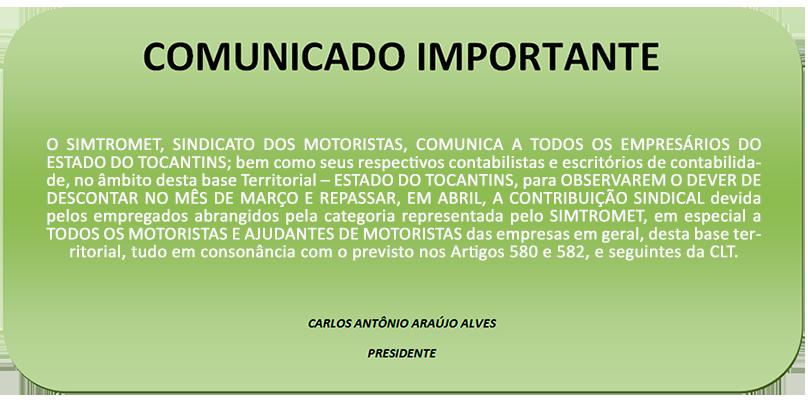Comunicado - Contribuição Sindical