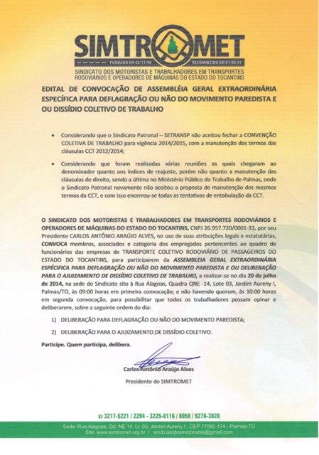 Edital de Convocação - AGE 20.07.2014 Rodov. Passageiros