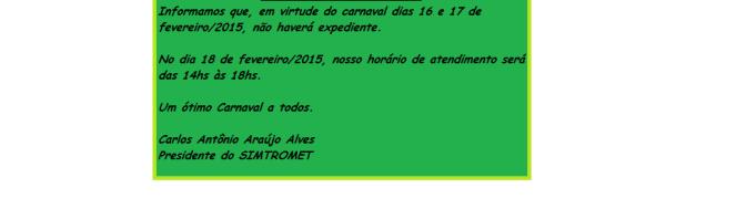 INFORMATIVO CARNAVAL  -  2015...