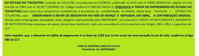 COMUNICADO -  CONTRIB. SINDICAL 2015 - SITE  SIMTROMET