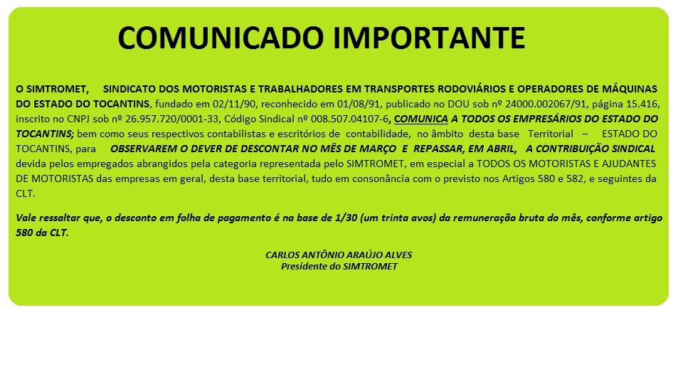 COMUNICADO - DESCONTO CONTRIBUIÇÃO SINDICAL - EXERCÍCIO 2016